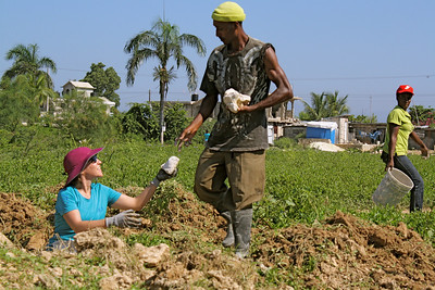 Team member Meghan Bool works with a member of the Haitian labor force.