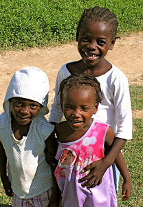 Haitian children on the work site.