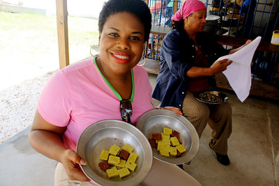 Beverly Black helps cook for almost 500 children in Grace International's refugee camp. These bouillon cubes will be used to flavor the rice and beans they'll eat.