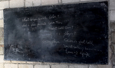A blackboard in Grace International's English school.