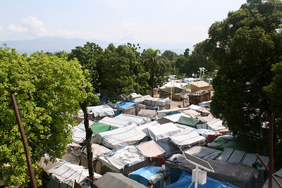 A roof-top view of Grace International's refugee camp.