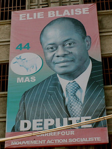 A political poster on display in Haiti's streets.