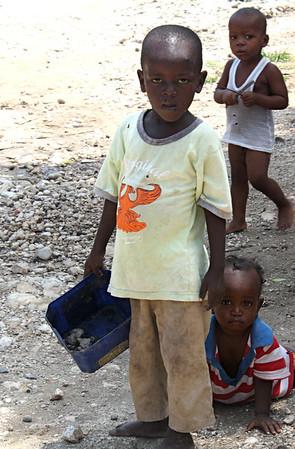 Haitian children in Grace International's refugee camp.