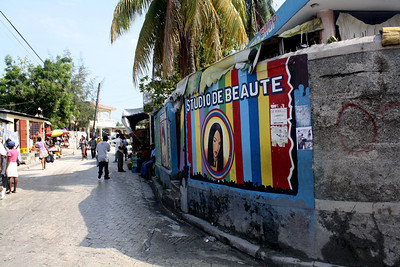 An example of the colorful signs that decorate Haiti's streets.