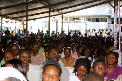 The crowd at church in Haiti.