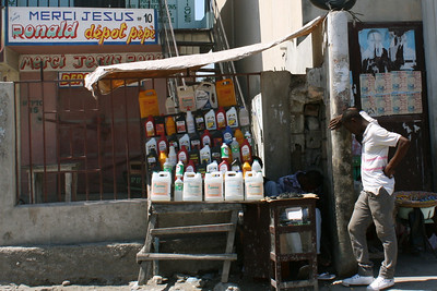 A street vendor in Haiti, observed on our way to the build site.