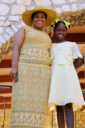Beverly Black with a Haitian child at the hotel.