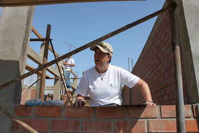 "Karen ""Toolie"" Warkentien works at the 2012 Millard Fuller Legacy Build in Peru."