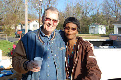 10 -3-18 Charlie Parks and homeowner Minnie Hawkins.  Minnie Hawkins is 58..She raised her 14-year-old grandson. Her house is next door to Minnie's mother..Several RV Builders teams are finishing the home. They predict it will be ready for move-in by March 26, the dedication day.   KS