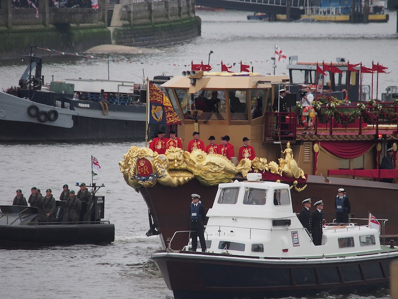 The Royal Barge and escorts, Thames River Pageant