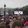 Crowds watching the big screen, the Embankment, near Blackfriars Bridge