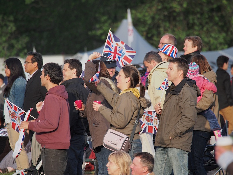 Enthusiastic revellers at Hyde Park for the relay broadcast of the Jubilee Concert