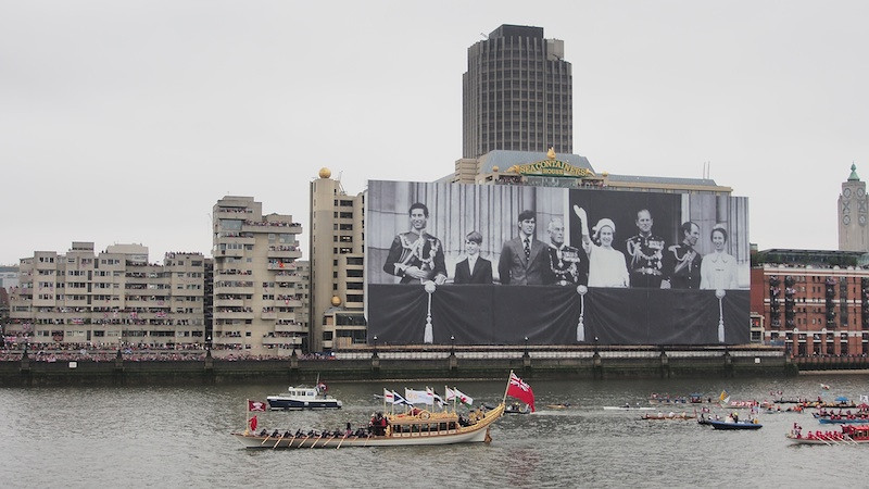 Gloriana leading the fleet, Thames River Pageant