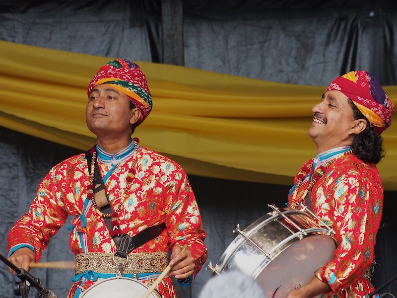 Drummers from the Jaipur Maharajah Brass Band on the Commonwealth Stage, Jubilee Family Day