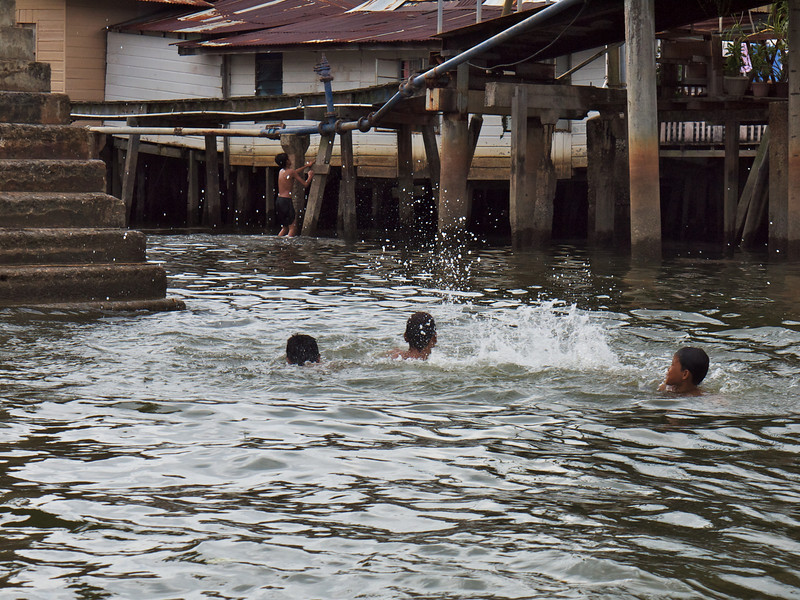 Playing in the street - Water Village, Bandar Seri Bagawan, Brunei