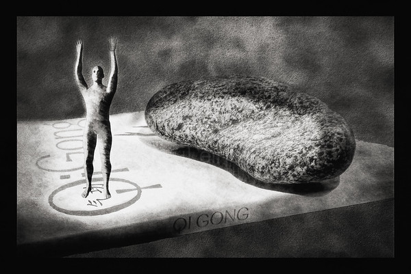 Qigong, Book and Stone BW