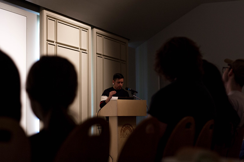 Not only does Fidencio Fifield-Perez have his work as a part of the Fronteras/Frontiers exhibition at the Beach Museum of Art, on April 12, 2018 he also spoke on his commitment to activism as a part of the university's annual engagement symposium. (Hannah Greer | Collegian Media Group)