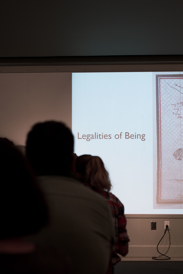 """On April 12, 2018 K-State's Beach Museum of Art hosted artist Fidencio Fifield-Perez to present his work, """"Legalities of Being."""" Fifield-Perez was an illegal immigrant and discusses his experiences and how they led him to activism through studio practice and non-traditional art practices. (Hannah Greer 