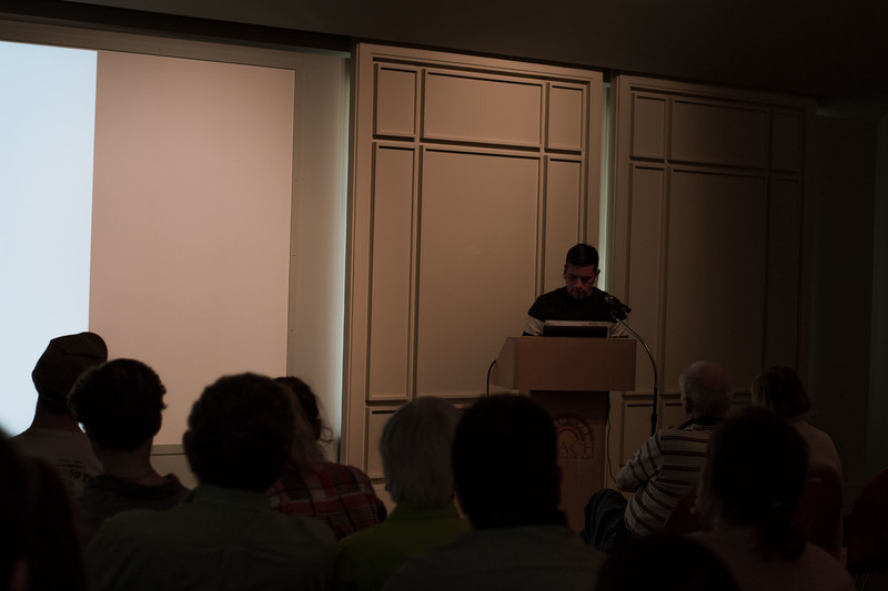 Fidencio Fifield-Perez's work is on view at the Beach Museum of Art as a part of the Fronteras/Frontiers exhibitions. He spoke at the museum on April 12, 2018 about his life experiences an illegal immigrant and how they moved him to become and active voice for his community. (Hannah Greer | Collegian Media Group)