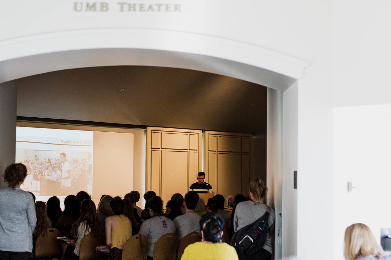 On April 12, 2018 the university's UMB theatre in the Beach Museum of Art hosted Fidencio Fifield-Perez to speak on how his past guided him to his present commitment to activism through studio and non-traditional art. His art is apart of this year's Frontiers/Frontiers exhibition at the museum. (Hannah Greer | Collegian Media Group)