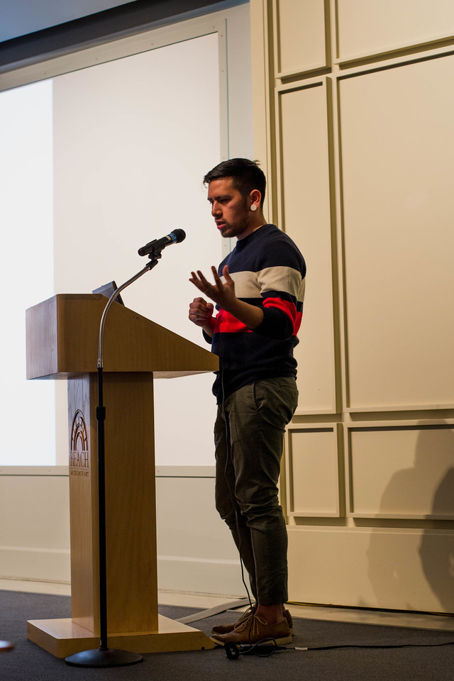 Not only does Fidencio Fifield-Perez have his work as a part of the Fronteras/Frontiers exhibition at the Beach Museum of Art, on April 12, 2018 he also spoke on his commitment to activism as a part of the university's annual engagement symposium. As an illegal immigrant, Fifield-Perez felt the press and confinement of having to act and look a particular way in order to be accepted in this country, this is demonstrated through his art and in his talk. (Hannah Greer | Collegian Media Group)