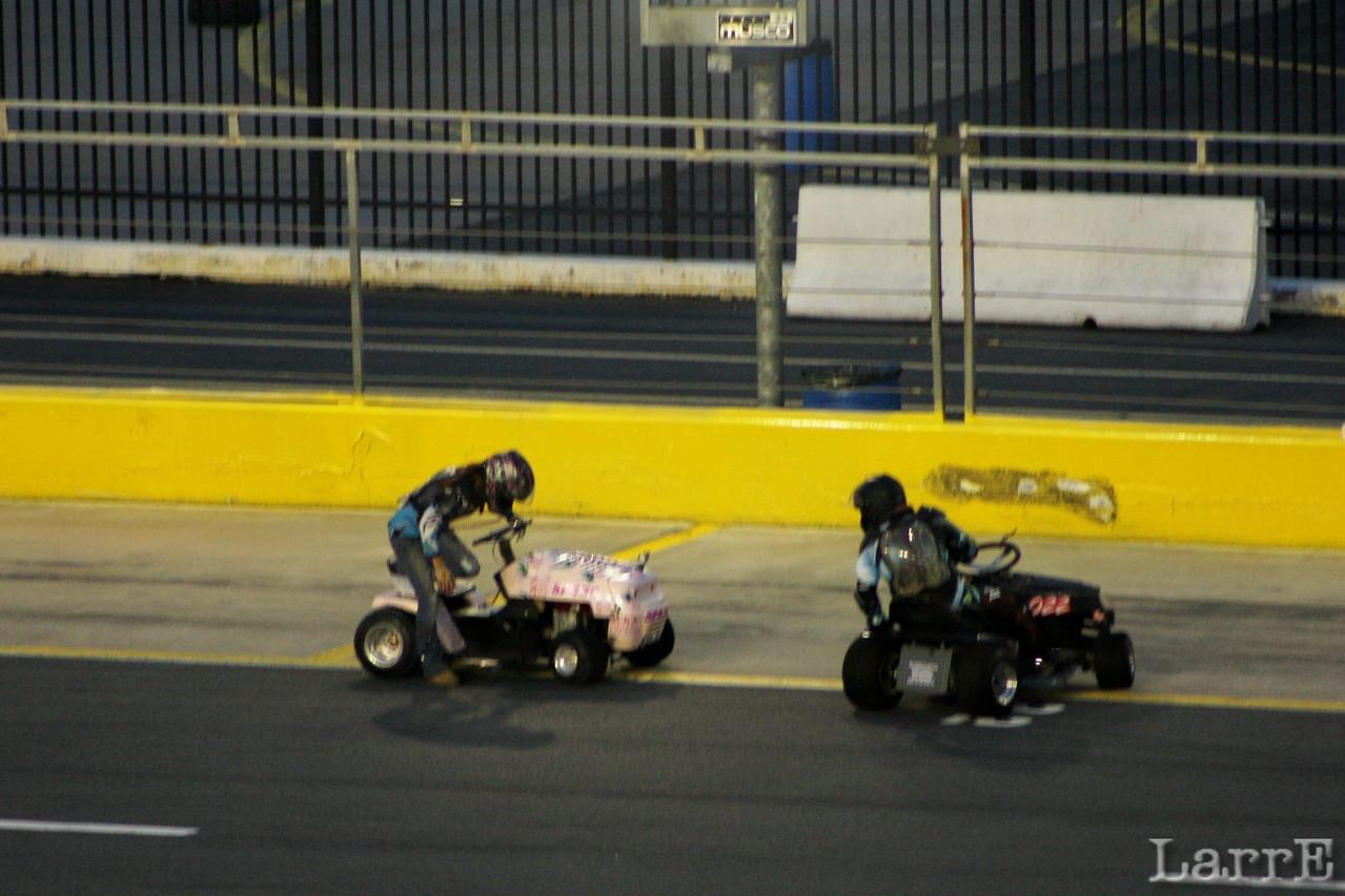 trouble in the lawnmower race