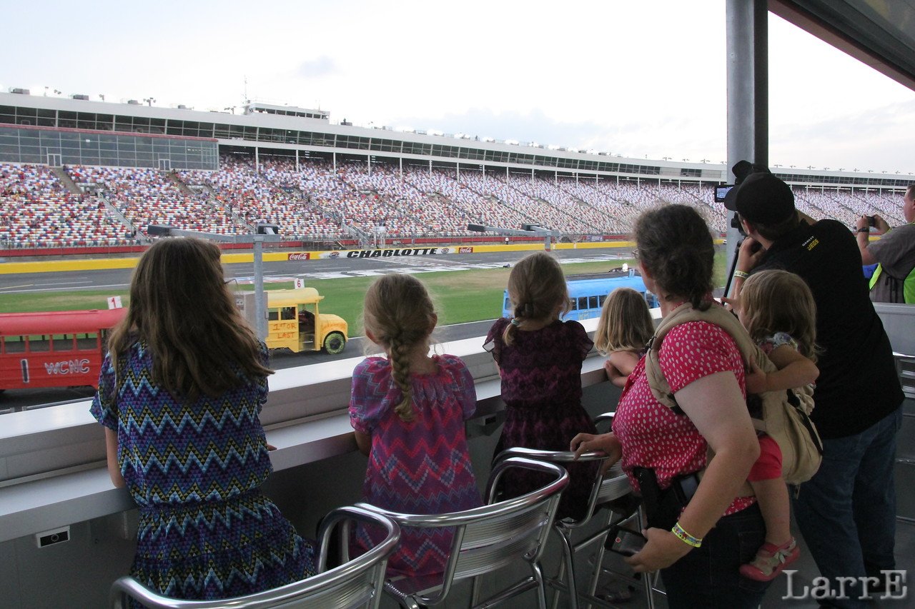 Cheering dad on as he flashes past. I'll bet Matt East could hear them out on the track.