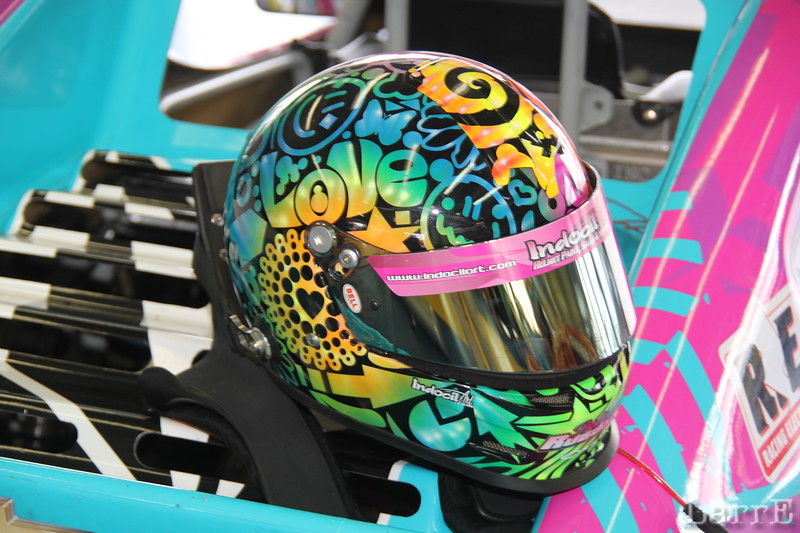 Isabella Robusto has a colorful helmet.
