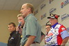 Hunter Nichols, the head of SPEED TV, addresses the drivers meeting