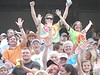 Are they cheering the races or the ticket prices...$7 adult, $3 children.
