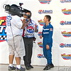 Dylan Presnell is interviewed after his first win in a legend car.