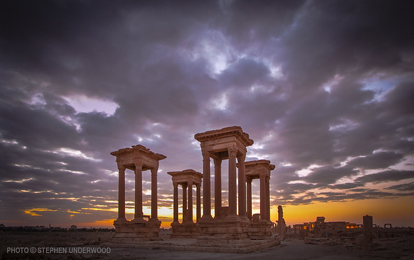 Dawn behind Palmyra's Tetrapylon