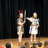 Quinton Johansen and  Andy Volpe of Legion III Cyrenaica address in full costume at the Richardson Middle School in Dracut.  (The Sun Chris Tierney)