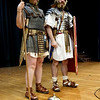 (left to right) Quinton Johansen and Andy Volpe of Legion III Cyrenaica address in full costume at the Richardson Middle School in Dracut. (Sun / Chris Tierney)