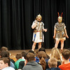 (left to right) Andy Volpe and Quinton Johansen of Legion III Cyrenaica address in full costume at the Richardson Middle School in Dracut. (Sun / Chris Tierney)
