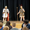 (left to right) Andy Volpe and Quinton Johansen of Legion III Cyrenaica address students at the Richardson Middle School in Dracut. (Sun / Chris Tierney)