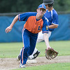 American Legion baseball playoffs started in Leomimnster on Thursday with Framingham Post 74 playing Leominster Post 151. Leominster's Matt Dupuis goes after a throw from home as Framingham's Nick Seeto steals second. SENTINEL & ENTERPRISE/JOHN LOVE