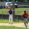 Leigions Lowell Pare makes a high catch for the out at 1st<br /> SENTINEL&ENTERPRISE/Scott LaPrade