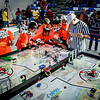 Team Orange Storm Gears from Westford talk witht he ref during their competition in the Lego building event at Nashoba Tech in Littleton. SUN/Caley McGuane