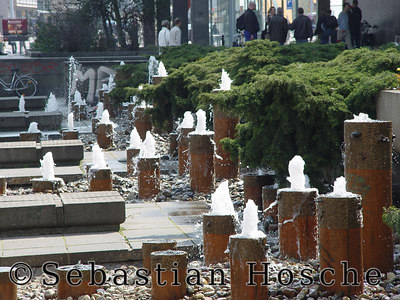 Leipzig Stadtzentrum, Grimmaische Straße, Unibuchhandlung, Springbrunnen 20040416_112008_00970_s7_o