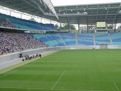 2006-06-30_10363 empty field - full ranks leeres Spielfeld - volle Ränge Cuartos de final Alemania : Argentina en el Zentralstadion (estadio) en Leipzig