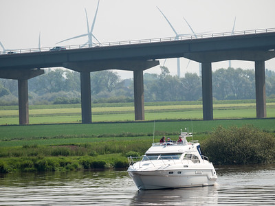 Cruising on the River Ouse near the M62 flyover
