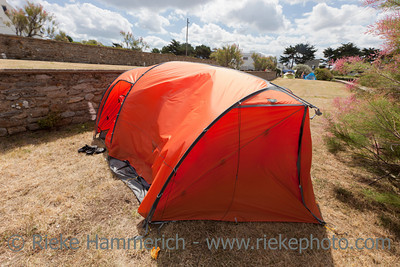 Tent on terraced campground - Saint-Malo, Brittany, France