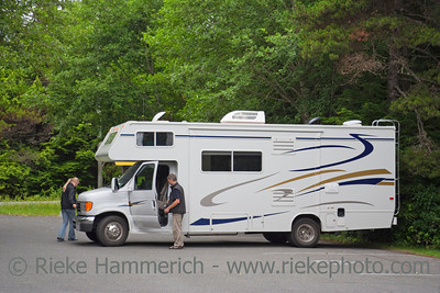 Large Motor Home with Tourists in the Woods - Pacific Rim National Park, Vancouver Island, British Columbia, Canada