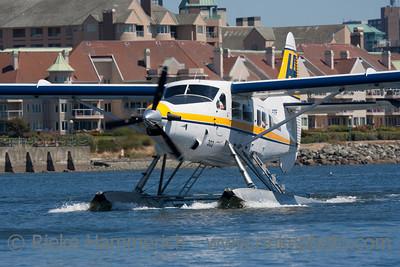 White Seaplane landing - Victoria, Vancouver Island, British Columbia, Canada