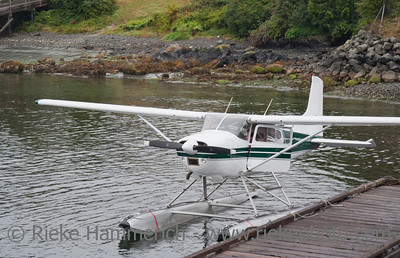 Seaplane moored at Dock - Tofino Harbor, Vancouver Island, British Columbia, Canada