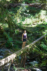 Young Woman balancing on fallen Tree - Goldstream Provincial Park, Vancouver Island, British Columbia, Canada