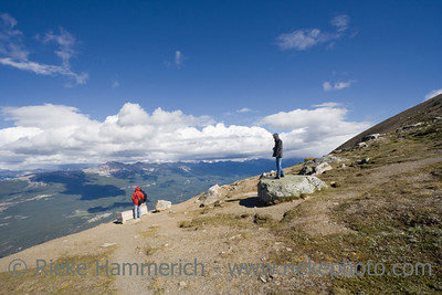 family mountain hiking - mount whistler, jasper national park, alberta