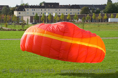 red power kite kickoff - this kite is a de-power foil and can be used for buggying, land-boarding or snowkiting - adobe RGB