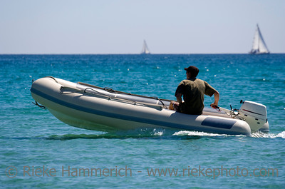 rubber dinghy with captain - saint-tropez, french riviera - adobe RGB